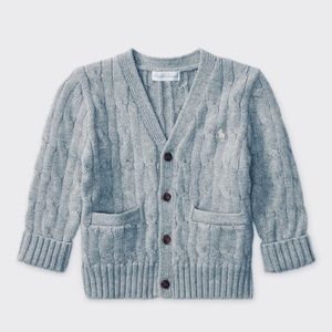 Ralph Lauren Baby Boys Cable Knit Cotton Cardigan